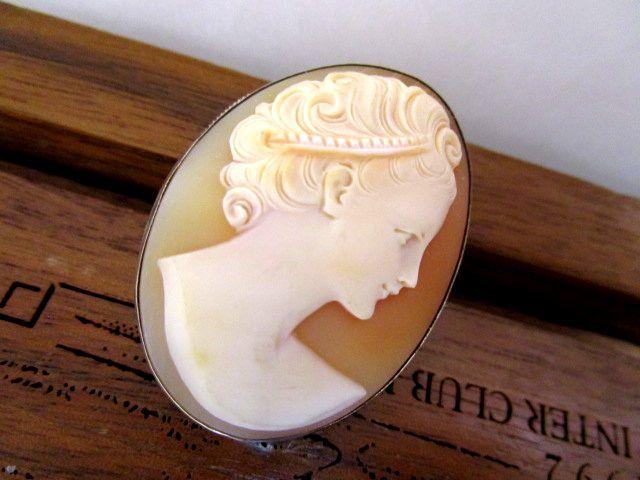 ビンテージ シルバー800 シェルカメオ ブローチ/ペンダント 女性像 純銀 9.2g