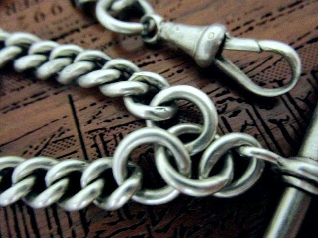 英国アンティーク シルバーロングチェーン シールフォブ 朱色 ネックレス 純銀 52.5g 32cm 懐中時計 ビクトリア期1894年EP社製