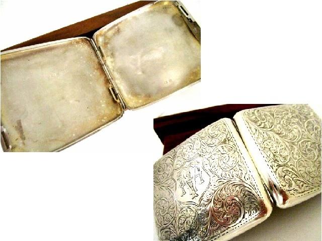 英国アンティーク シルバー シガレットケース 煙草 純銀 両面彫金 唐草模様 大判 96g ジョージ5世 バーミンガム1921年JC社製