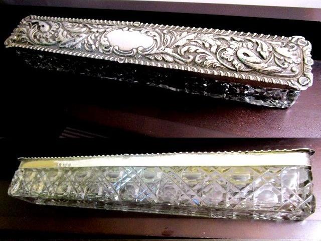 英国アンティーク シルバートリンケットBOX ホブネイルカット ガラスケース 261g 純銀 アールヌーボー エドワード期1903年G.N.R.H