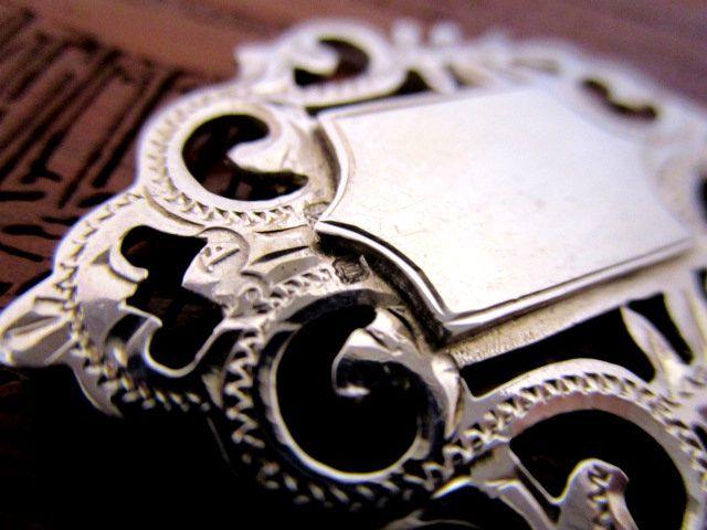 英国アンティークシルバー&9CTゴールド 両面装飾フォブ ペンダント/チェーン彫金 純銀 ジョージ5世バーミンガム1911年AS社製