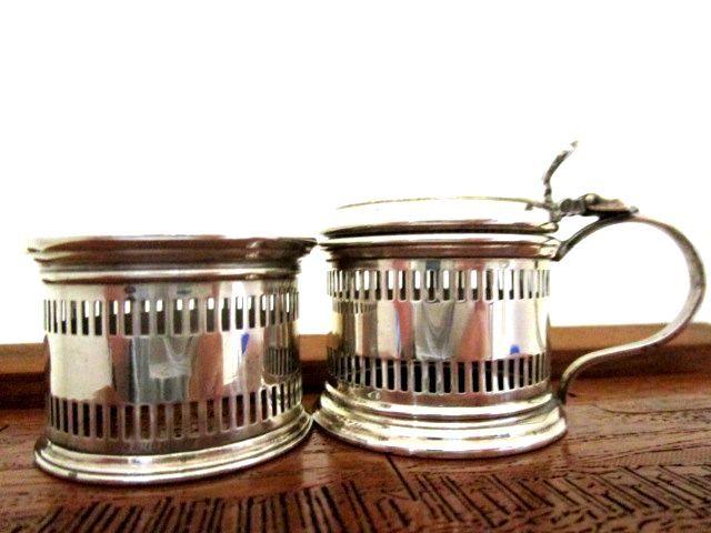 英国アンティーク シルバー ソルト&ペッパーポット スプーン シュガートング カトラリ— 純銀 バーミンガム1909-20s 調味料入れ5点