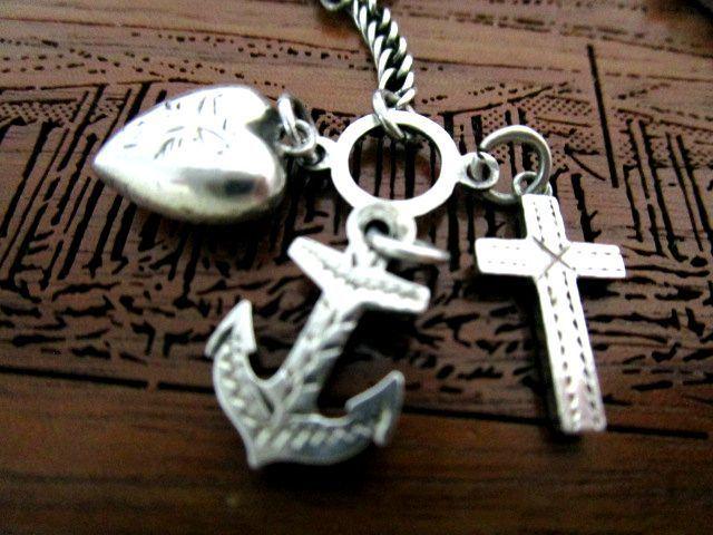 英国アンティーク スライダーロングチェーン ハート アンカー クロス/十字架 錨 フォブ 懐中時計 純銀 ビクトリア期バーミンガム1897年AL