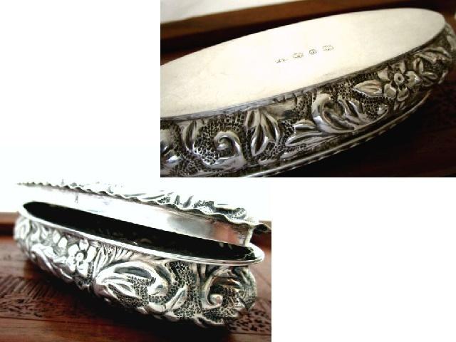 英国アンティーク シルバー トリンケットBOX ディーキン&フランシス 純銀小箱 51g 楕円 バーミンガム ビクトリア 期1895年