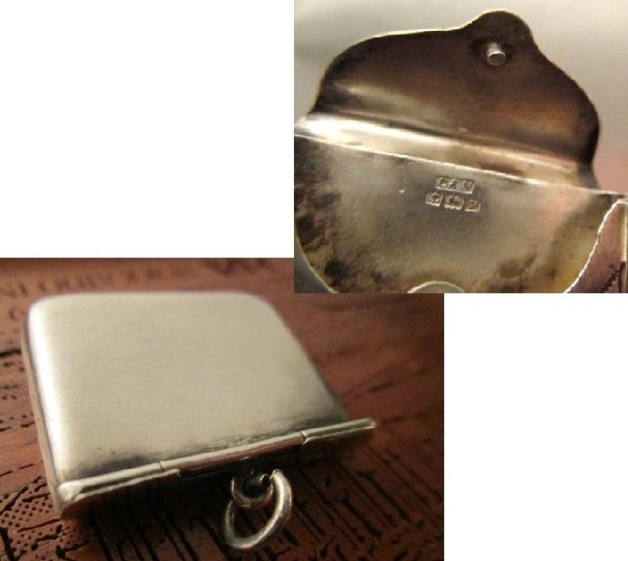 英国 アンティーク シルバースタンプ フォブ チェーン 切手 純銀 バーミンガム1914年 C&N社製