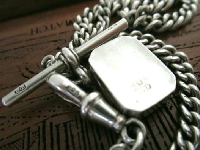 英国アンティーク ロング アルバートチェーン ロケット フォブ 馬蹄 純銀 懐中時計 バーミンガム ビクトリア期1890年G&F社製