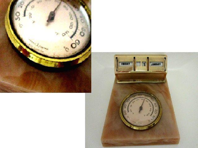 英国ビンテージ デスクカレンダー 温度計 スタンド 卓上 真鍮 Brass & Marble イギリス雑貨 MADE IN ENGLAND