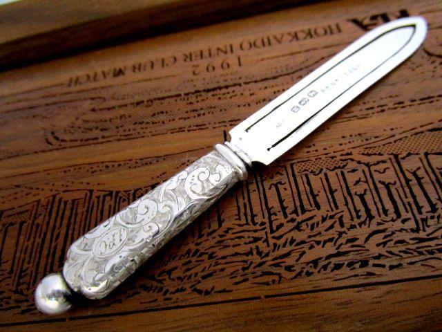英国アンティーク SILVERSMITH シルバー ブックマーク 唐草模様 純銀 イギリス バーミンガム ビクトリア期1886年L.S社製