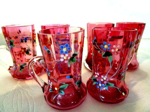 アンティーク ボヘミアン ミニチュア グラス ピッチャー エナメル装飾 ハンドペイント 6個