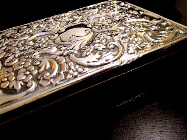 英国 ビンテージ シルバー トリンケットBOX 大箱 310g 純銀&木製 イギリス シェフィールド 1992年RC社製