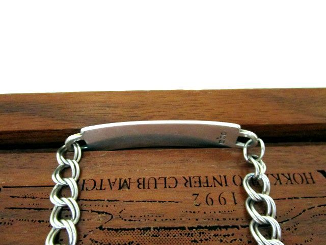 英国ビンテージ スターリングシルバー925 ID ブレスレット チェーン 20.5cm 純銀 16.2g ロンドン1972年 JP社製
