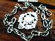 英国アンティーク ツイストリンク リボン結び チェーン 両面装飾フォブ 純銀 懐中時計 エドワード期1910年 バーミンガム