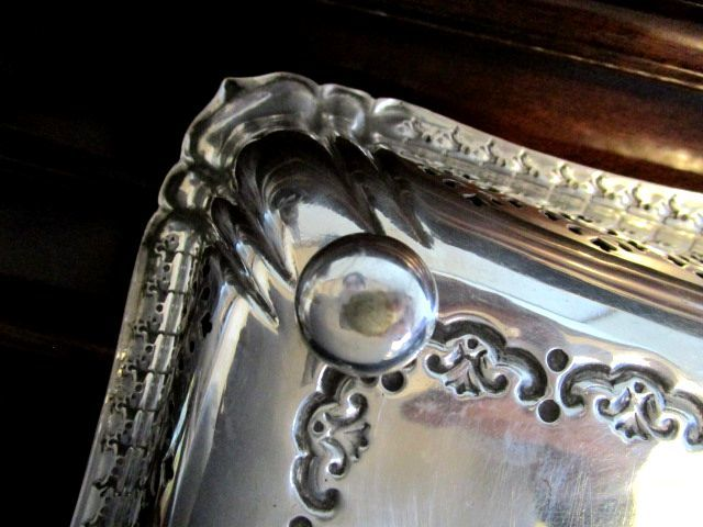 英国ビンテージ シルバーp EP フルーツボウル デザートトレイ 大サイズ 32cm ハンドル/スタンド付き 540g 銀器オールドシェフィールド JR