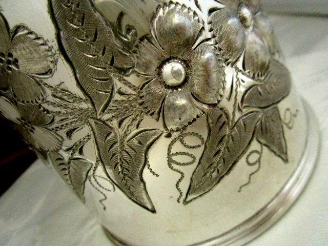 英国アンティーク シルバーp ティー/コーヒーポット 植物花柄 ART NOUVEAU 銀器ビクトリア期1860年代 BENETFINK