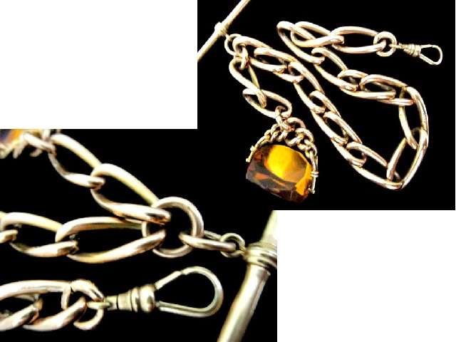 英国アンティーク 14CT GOLD FILLED ゴールド 回転式石付フォブ 極太 アルバートチェーン 懐中時計45g ビクトリアン TH社製/刻印.極上美品