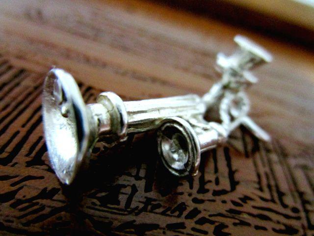 英国ビンテージ スターリングシルバーアンティーク電話機 チャーム チェーン ブレスレット/ペンダント 純銀4g
