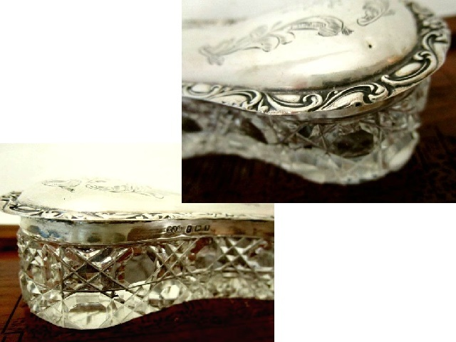 英国アンティーク シルバー ヴァニティージャー/トリンケットBOX ホブネイルカット ガラスケース 140g 純銀 エドワード期1908年EJH社製