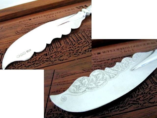英国アンティーク シルバーバターナイフ 白蝶貝 純銀ブレード バーミンガム ビクトリア期1893年WD社