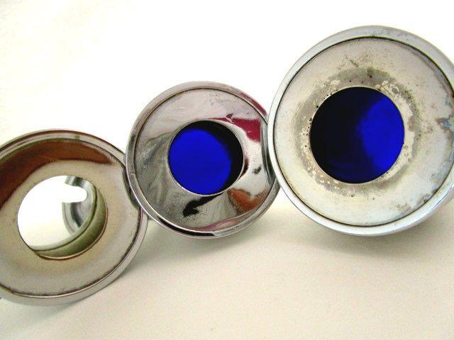 英国ビンテージ ソルト/ペッパー/マスタード 調味料入れ 3ps セット ブルーグラス CHROME PLATED カトラリーセット 箱付