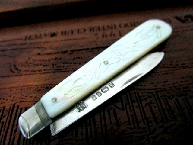 英国アンティーク スターリングシルバー ペンナイフ/レターオープー 純銀ブレード マーザーオブパール シェフィールド ビクトリア期1878年