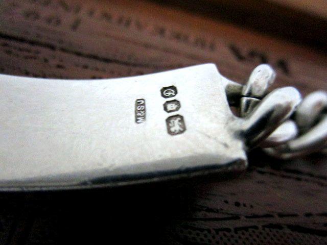 英国ビンテージ スターリングシルバー925 IDブレスレット チェーン ゆったりサイズ 21.5cm 極太 純銀 46.5g ロンドン1978年M&SJ社製