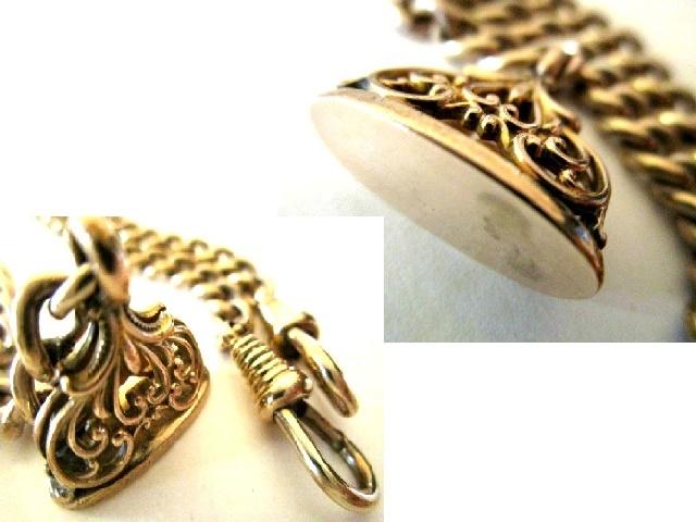 英国アンティーク R.GOLD ゴールド ダブルアルバートチェーン シールフォブ ネックレス 懐中時計 34.3g ビクトリア期1880s