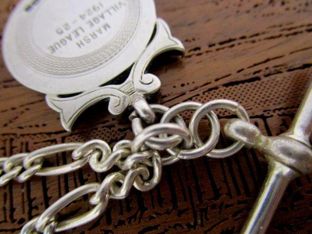 英国アンティーク/ビンテージ シルバーダブルチェーン ネックレス ペンダント フォブ 懐中時計 34g 純銀 ART DECO 1925年D&D社