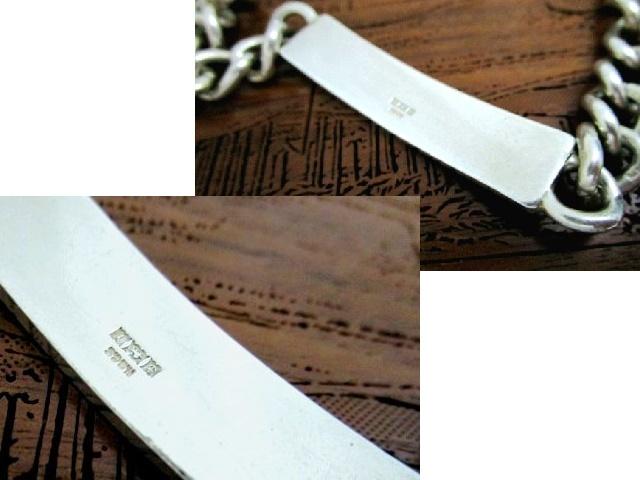 英国 ビンテージ シルバー925 ID ブレスレット チェーン 23cm 極太 1.1� 純銀45g バーミンガム1973年 SMP社製