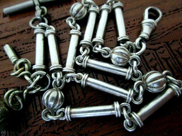 英国アンティーク 鍵巻 石付きシールフォブ ブラッドストーン ボール装飾リンクチェーン 純銀 懐中時計28.6g ART NOUVEAU 1900s