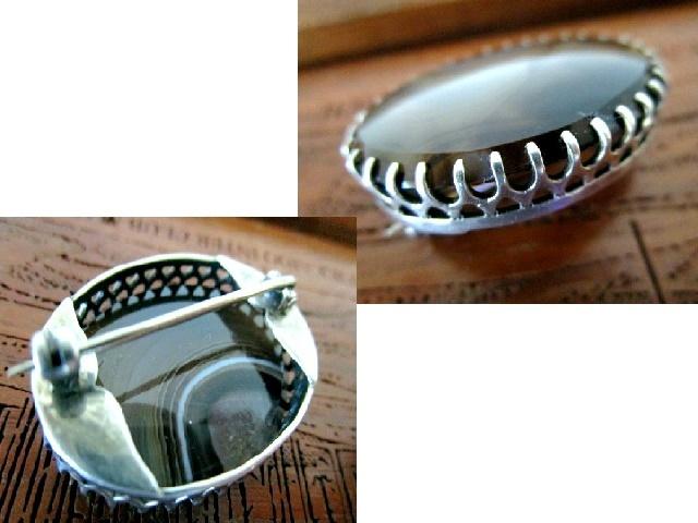 英国アンティーク スターリングシルバー ブローチ 楕円 アゲート石/Banded Agate スコットランド 純銀 9.8g