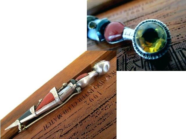 英国アンティーク シルバー DAGGER 大きなブローチ キルトピン スコティッシュ アゲート シトリン ジャスパー 石付 純銀12.8g