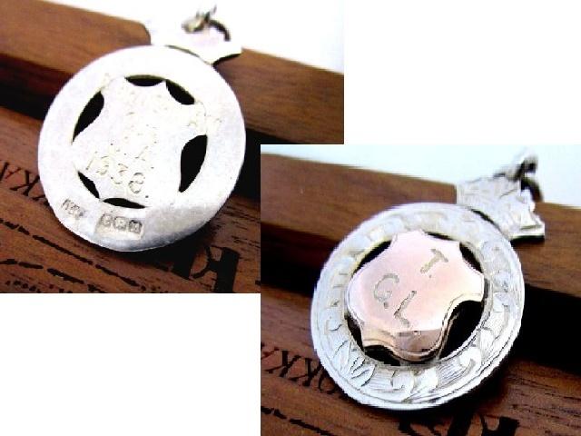 英国アンティーク アルバートチェーン ゴールド&シルバーフォブ 極太 58g 純銀 懐中時計 イギリス バーミンガム 1936年