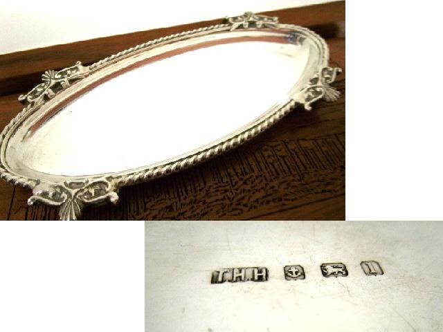 英国アンティーク シルバーピントレイ オーバル型 純銀 バーミンガム エドワード期 ART NOUVEAU 1910年 純銀 葉形飾りTHH社