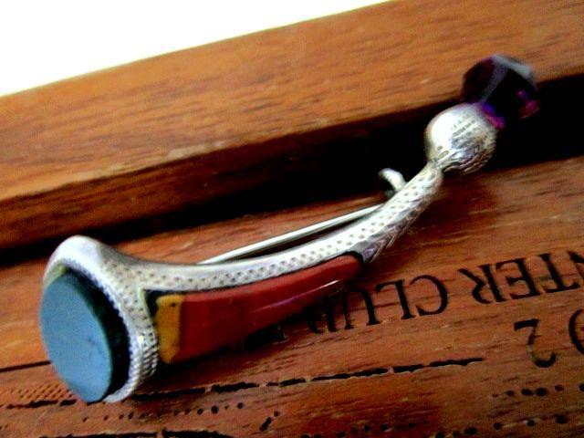 英国アンティーク スターリングシルバー シスル/アザミ ブローチ ホーン型 アメジスト アゲート 純銀 バーミンガム1914年 ALLD社製