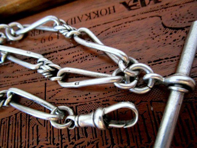 英国アンティーク 装飾ツイストリンク チェーン 鍵付き 2色石回転式フォブ 懐中時計 純銀 ビクトリア期1892年バーミンガム全刻印.極上.稀少