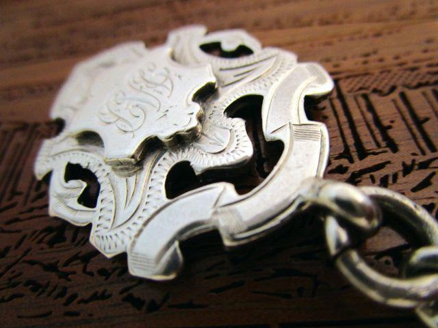 英国アンティーク シルバーダブルチェーン ネックレス ペンダント フォブ 懐中時計 44g 純銀 ジョージ5世 ART DECO1923年社