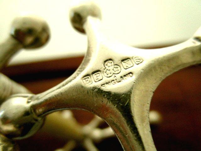 英国アンティーク シルバーカトラリー ナイフレスト ペア 一部純銀 アイボリー イギリス雑貨 81g 1957年シェフィールドJB社製 EPNS