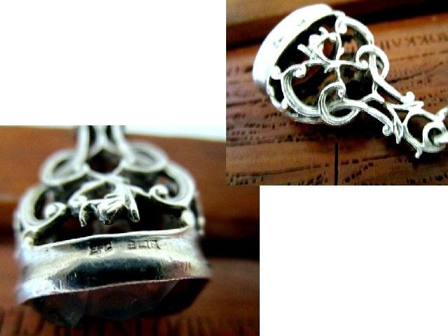 英国ビンテージ シルバーダブル チェーン スモーキークォーツ 石付 スピナー シールフォブ ペンダント 純銀 45.2g 1970年代 バーミンガム