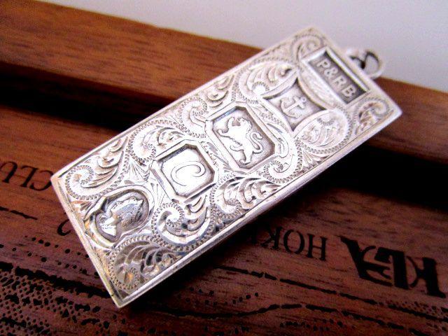 英国ビンテージ シルバーインゴット ペンダント/フォブ チェーン 31g 純銀 イギリス バーミンガム ジュビリー1977年RC社製