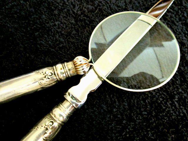 英国アンティーク 虫眼鏡&レターオープナー/ペーパーナイフ ピストル型 シルバーデスクセット2点 純銀 シェフィールド ジョージ5世1917年