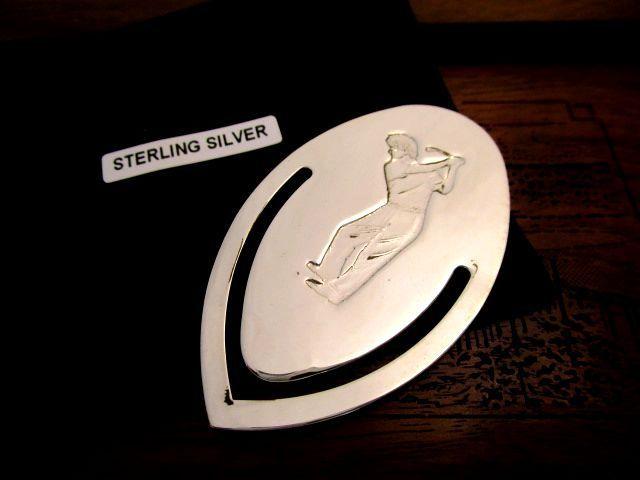 英国ビンテージ ブックマーク ゴルファー スターリングシルバー イギリス バーミンガムFGH社製