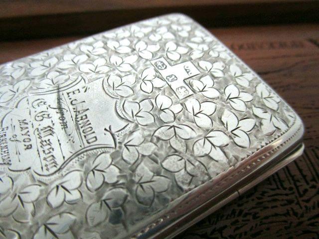 英国アンティーク シルバーカード/ノートブックケース メモ帳 ホルダー 純銀&革製 両面装飾 ビクトリア期バーミンガム1897年J.G社製