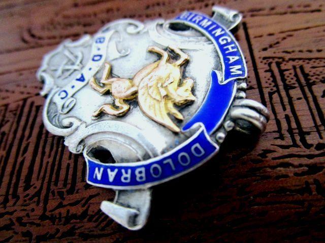 英国アンティーク エナメル&ゴールド チェーン フォブ/ペンダント 懐中時計 純銀13.3g エドワード期バーミンガム1915年全刻印