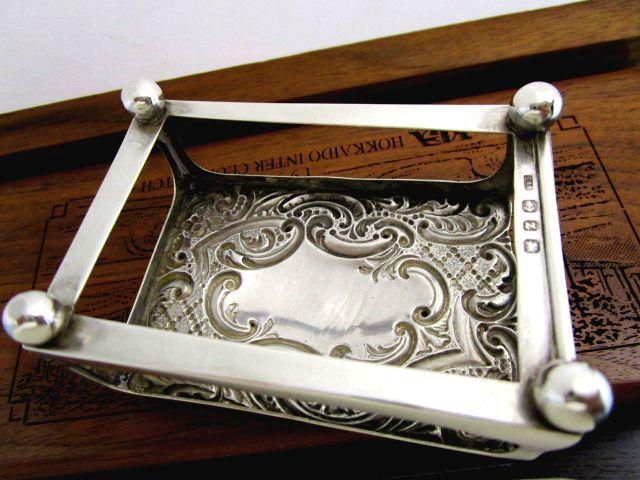 英国アンティーク シルバー マッチ箱 ケース ホルダー ボールスタンド/マッチ箱付バーミンガム ビクトリア期1899年C&N社