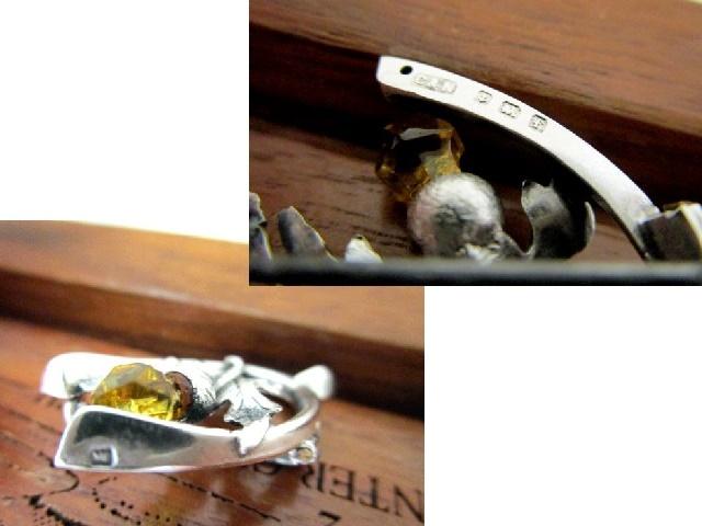 英国アンティーク シルバーブローチ シスル/アザミ ケルト シトリン 純銀 バーミンガム エドワード期1905年C&N社製