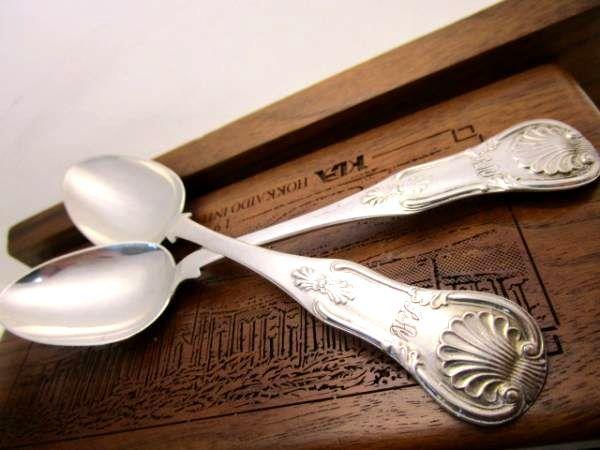 英国アンティーク シルバースプーン クイーンズ・パターン 2本セット 純銀 グラスゴーSCOTLAND ビクトリア期1853年 DCR社製