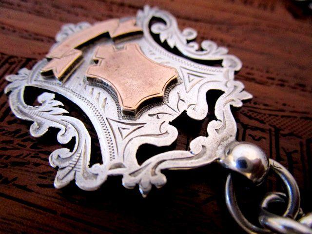 英国アンティーク アルバートチェーン ゴールド フォブ 極太72g 純銀 懐中時計 ビクトリア期バーミンガム1895年RP社製