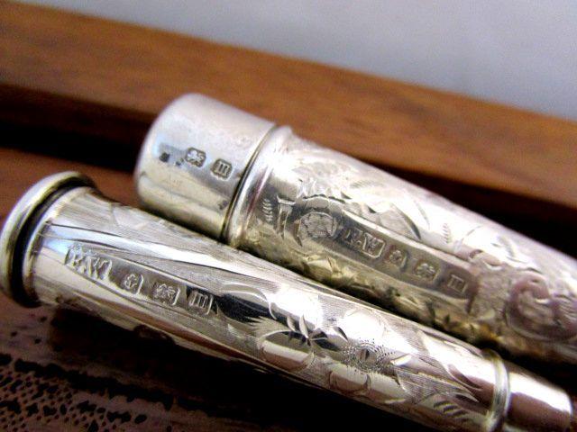 英国 アンティーク シルバー シガレットホルダー 煙草 喫煙小道具 純銀 バーミンガム ジョージ5世 1911年FW社製