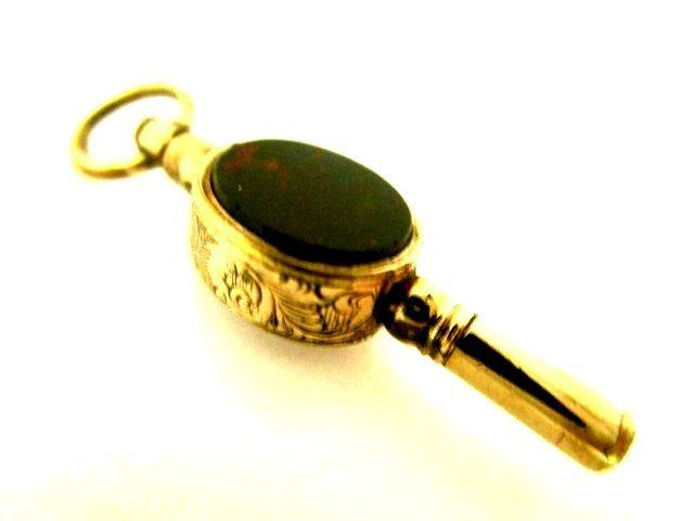 英国アンティーク 9CT GOLD CASE 鍵巻 キー&フォブ AGATE&BLOOD STONE 2色石付 紫陽花色 懐中時計チェーン ビクトリア期1890s