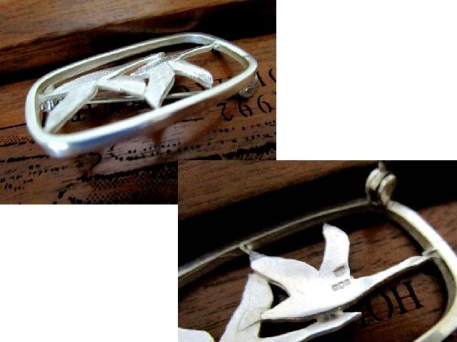 英国ビンテージ スターリングシルバーブローチ ギース/ガチョウ Geese 純銀 6.7g スコットランド エジンバラ 1946年 HK社製